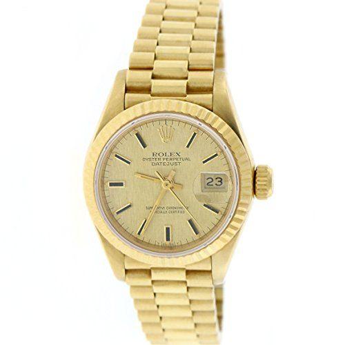 Rolex President Datejust Ladies 18K Yellow Gold 26MM Original Champagne Index Di...