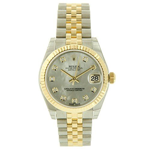 Rolex Two-tone Lady-Datejust White Mother of Pearl Dial 18k Gold Fluted Bezel-Ju...