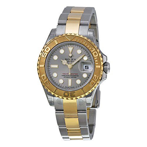 Rolex Yacht Master Grey Dial 18kt Yellow Gold 29 MM Ladies Watch 169623GYSO -- R...