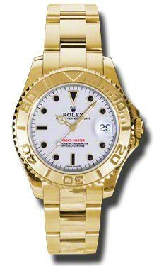 Rolex Yacht Master White Dial Automatic 18K Yellow Gold Bracelet Mens Watch 1686...