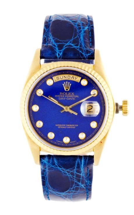 Vintage Rolex 18K Yellow Gold Day-Date President With Lapis Diamond Dial by CMT ...