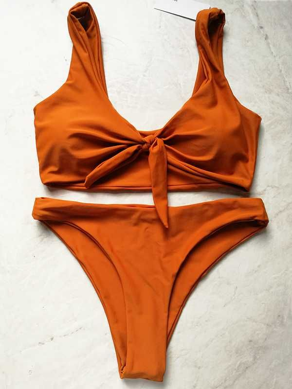 25% off 3 sets front tie bathing suit orange burnt bikini sale