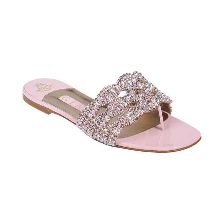 A pretty baby pink patent leather sandal embellished with hand woven Swarovski &...