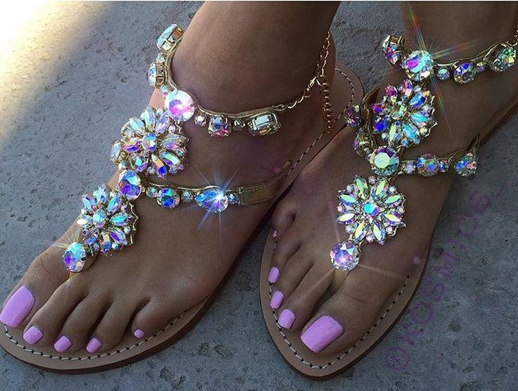 Amelia Island - Women's Leather Jeweled Sandals - Mystique Sandals