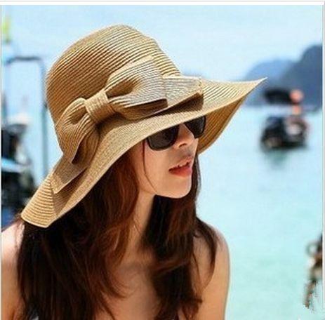 Cute Beach Hats for Women   ... Brim Hat Women's Bow Sunscreen Sun Beach Hat...