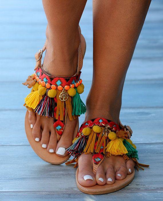 Sandals, Pom pom sandals, Boho sandals, Women shoes, Flats Women, T strap sandals, Handmade Greek sandals, Leather sandals,