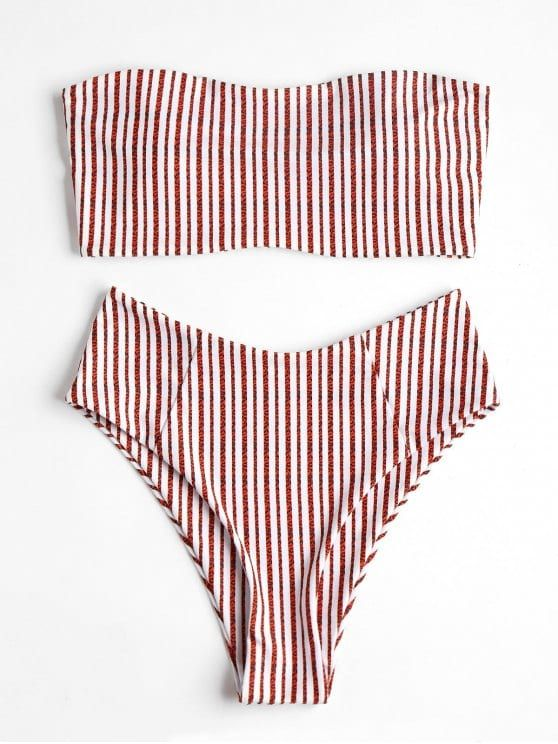 High Waisted Striped Bandeau Bikini Swimwear. Muted stripes soften the effortles...