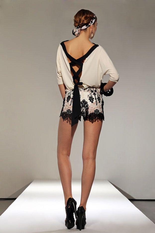Raffaela D'Angelo Silk Shirt and Lace Shorts