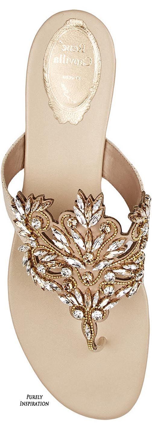 René Caovilla | Swarovski Crystal Embellished Leather Sandal