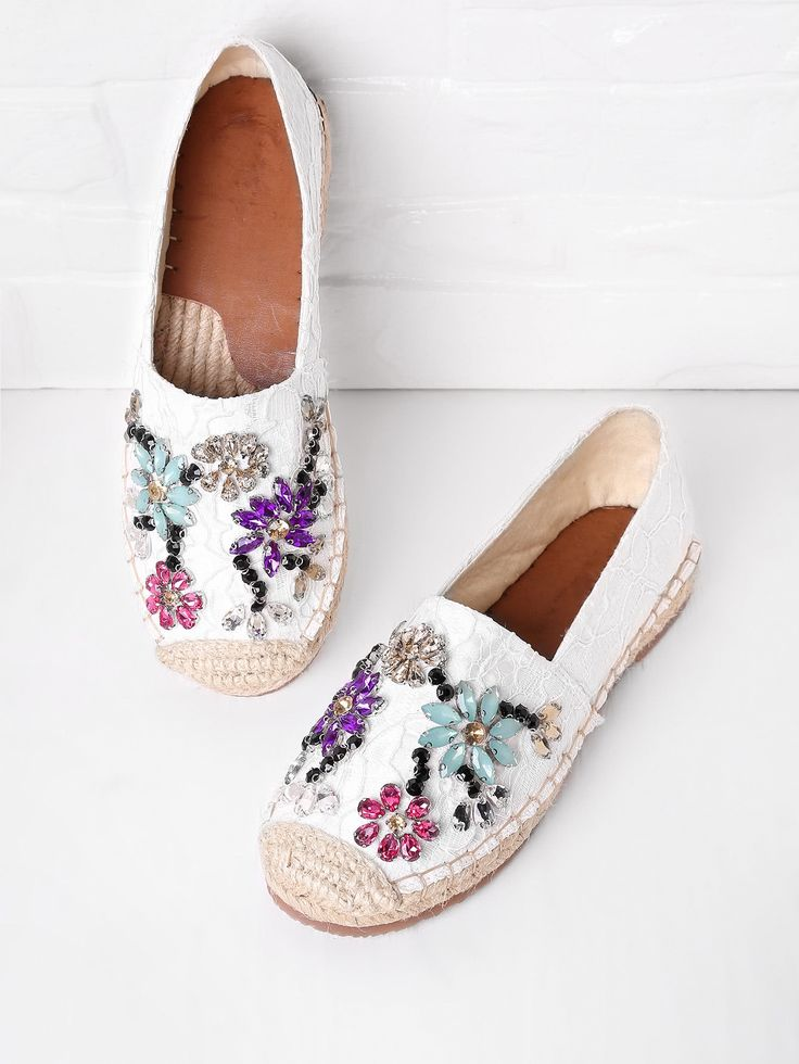 Shop Crystal Decorated Lace Overlay Espadrille Flats online. SheIn offers Crysta...