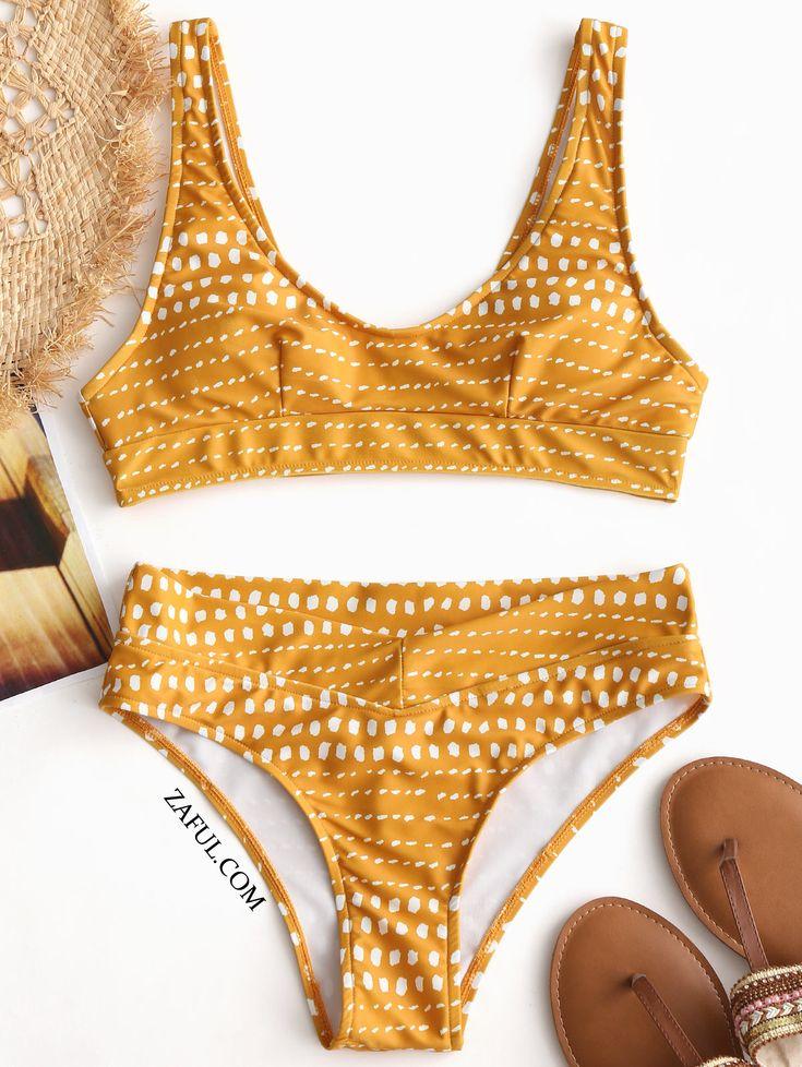 Spot Print Padded Bikini Set - Yellow M on sale only US$18.99 now, buy cheap Spo...