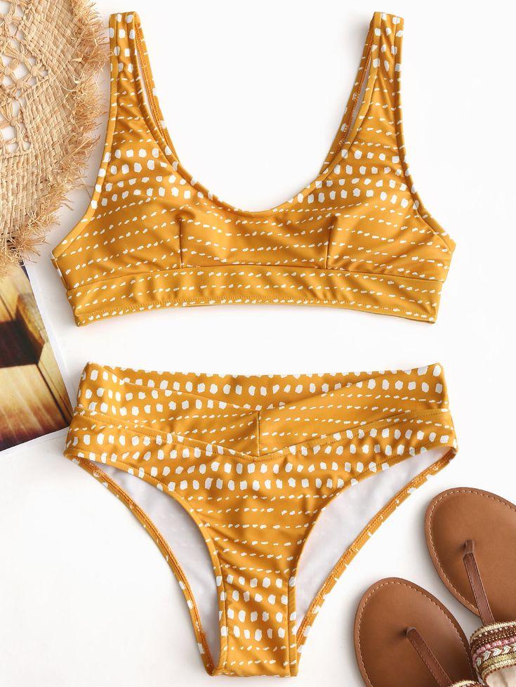 Up to 80% OFF! Spot Print Padded Bikini Set. #Zaful #Swimwear #Bikinis zaful,zaf...