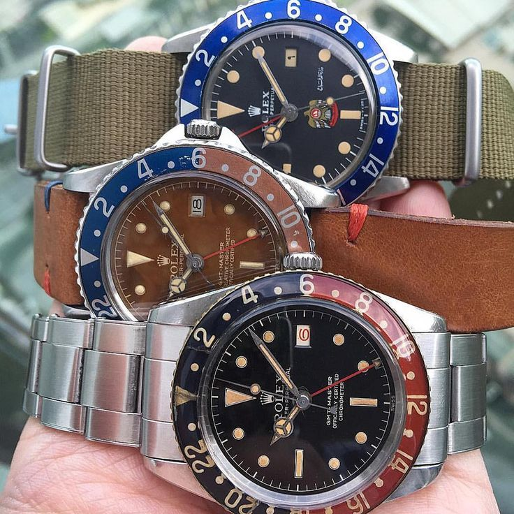 """""""My humble GMT collection!! 6542 glossy gilt from 50s, 1675 PCG caramel tropic..."""