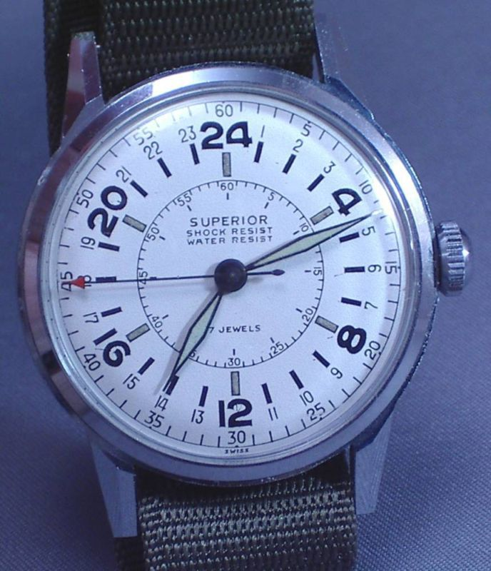 Rare vintage true 24 hour military dial watch - nos wow