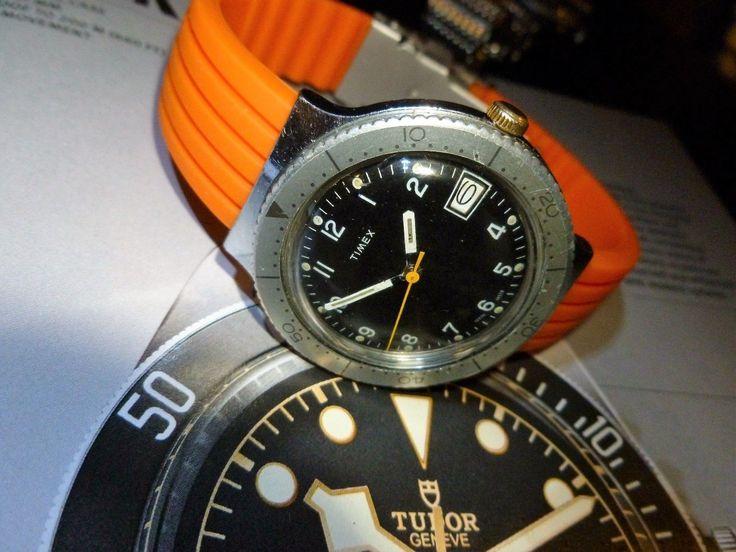 vintage  timex mens diver style 1978  date windup watch, orange band  | eBay