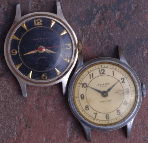 Lot-of-2-Ingersoll-British-50s-Vintage-Art-Deco-Military-Style-5j-Parts-Restore