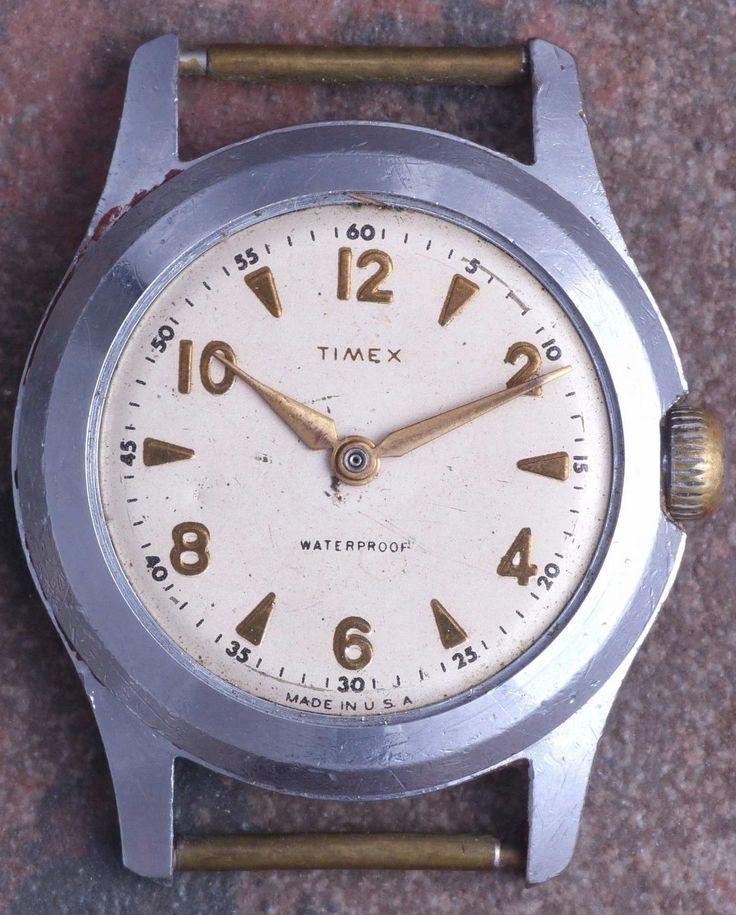 Timex USA Marlin 50s Vtg Military Style Ingersoll Movement Cinch Nut Back Ticks  | eBay
