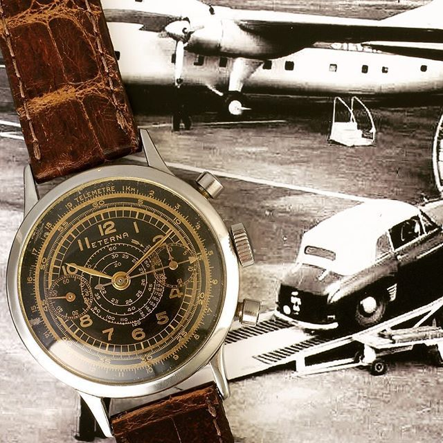 One of my favorites of my collection 1950 Eterna Cronograph Tachymeter Telemeter...