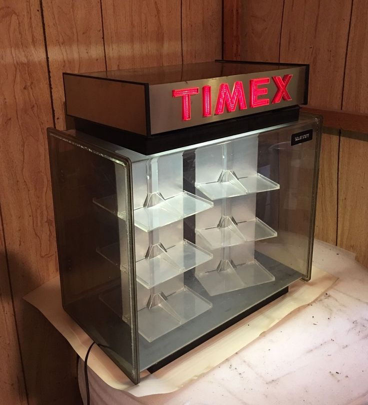 Vintage Timex Lighted Watch Counter Display Box w Key RotatingShelves Working