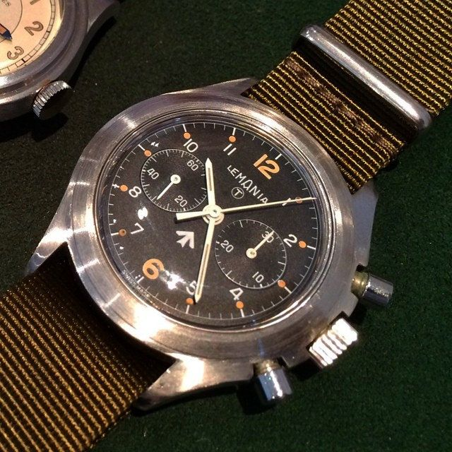 Super rare Lemania Royal Navy 2 Button 1872 Chronograph!