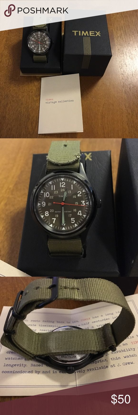 Timex Vintage Collection W92 J. Crew Green Watch Men's J. Crew Timex Vintage...