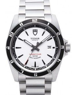 Tudor Grantour Date Bay White Dial Steel Strap Mens Watch 20500N-3