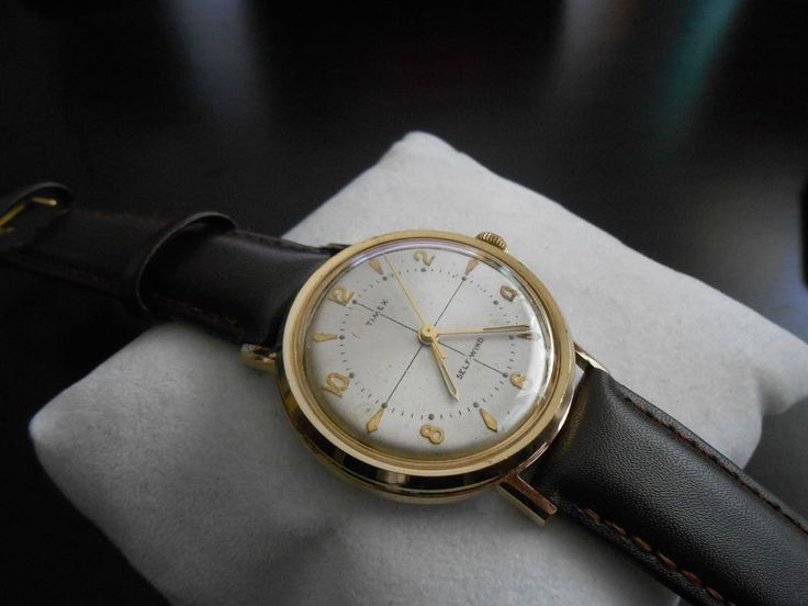 Vintage 1960s Timex Gold-Tone Auto Crosshair w/ 18mm Red Stitch Leather Band! #T...