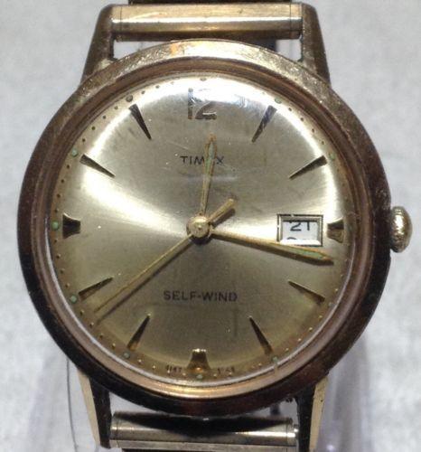 Vintage-1966-TIMEX-Men-039-s-Self-Wind-Wristwatch-Expandable-Band-Please-Read