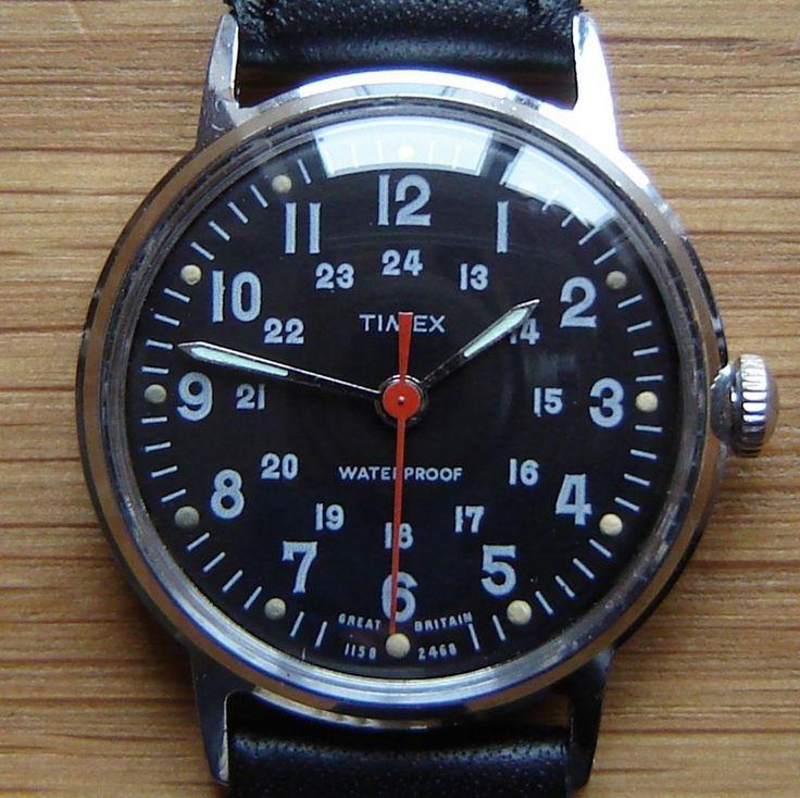 Vintage 1968 Timex 24hr Military Style Black Wrist Watch - British Made & FWO