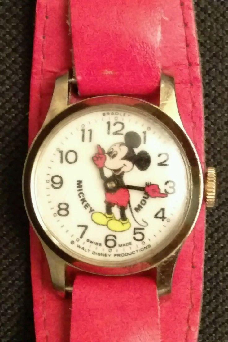 Vintage Bradley Mickey Mouse Wristwatch Swiss. Licensed Walt Disney, WORKS. • ...