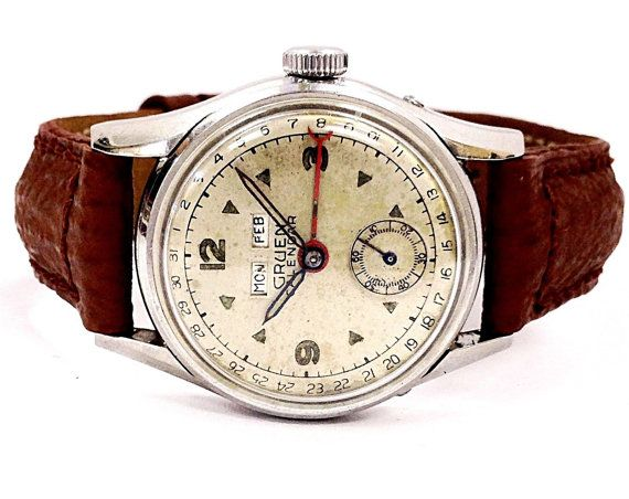 Vintage Gruen Calendar 65748 E Leather Band Hand Wind Men's Watch