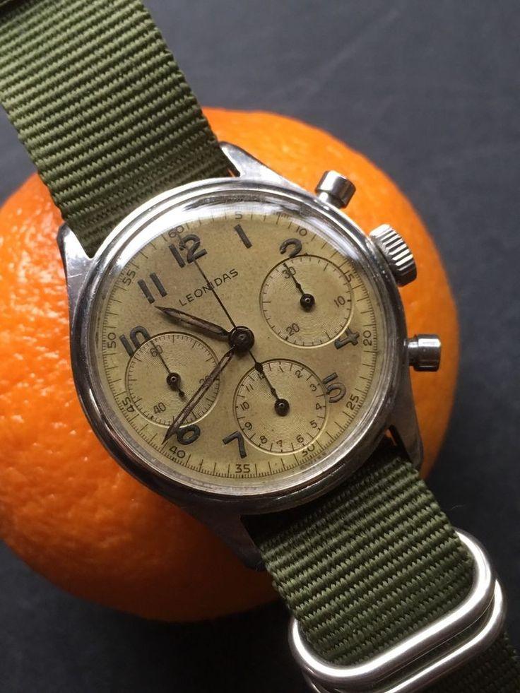 Vintage Leonidas Chronograph Pre-Heuer Pre-Carrera Valjoux 72 Steel Case 34,8mm ...