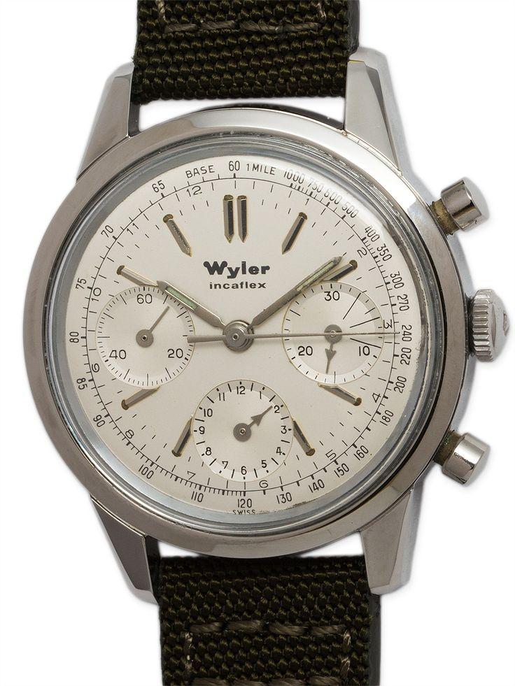 Wyler SS Incaflex Valjoux 72 Chronograph circa 1960's