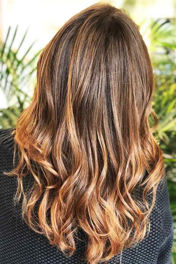 Most Delectable Caramel Highlights Hair Copper #brunette #highlights #wavyhair ...