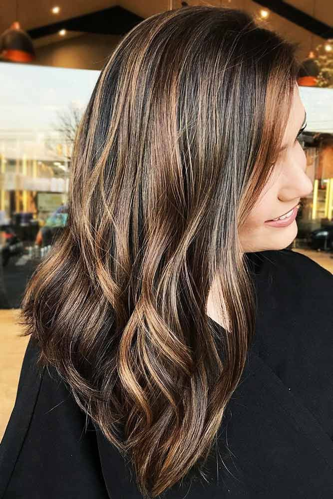 Hair Color 2017 2018 Light Brown Highlights On Chocolate Brown