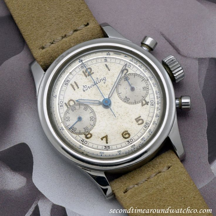A 1950s era Breilting 2 Register Chronograph of Stainless Steel that features a...