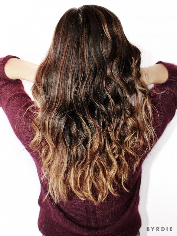 Ombré curls // Paper towel curling technique