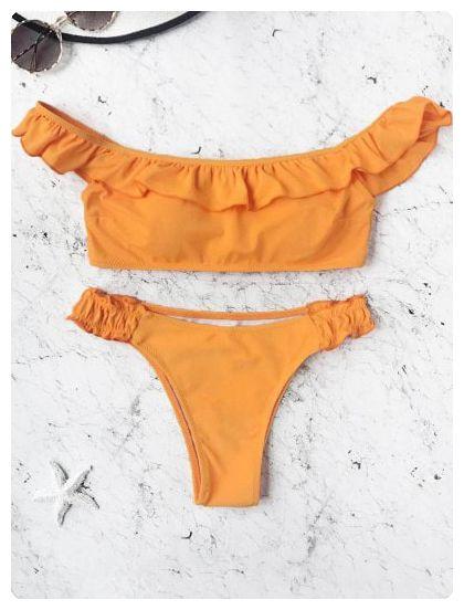 Off The Shoulder Frilled Bikini Set (Orange)