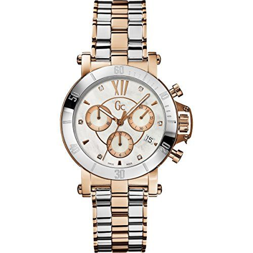 GUESS GC Femme Silver and Rose GoldTone with Diamonds Timepiece ** Check this aw...