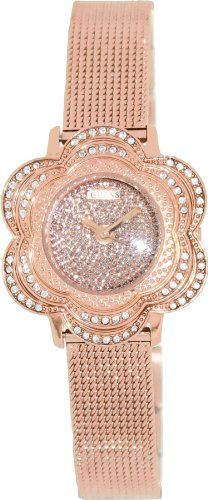 GUESS U0139L3 Rose Gold-Tone Floral Mesh Watch ** Details can be found by clicki...