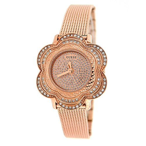 GUESS U0139L3 Rose GoldTone Floral Mesh Watch ** Find out more about the great p...