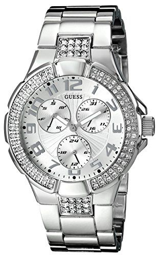 GUESS Women's G12557L Status-In-The-Round Crystal Silver-Tone Sport Watch --...