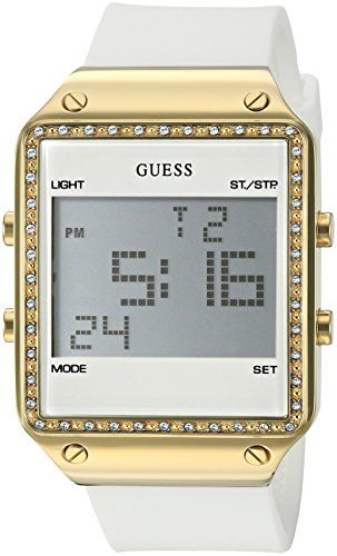 GUESS Women's U0700L1 Gold-Tone Multi-Function Digital Watch on White Silico...