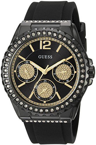 GUESS Womens U0846L1 Sporty Black Watch with Black Dial  CrystalAccented Bezel a...