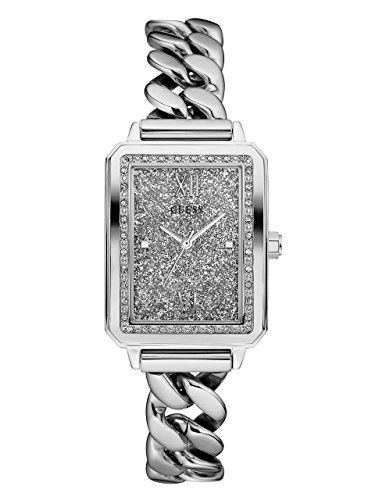 GUESS Womens U0896L1 Trendy SilverTone Watch with Silver Dial  CrystalAccented B...