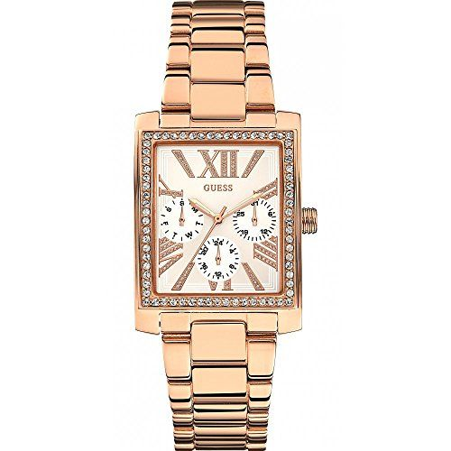 Guess Watches Ladies Haven Square Rose Gold Stone Set Multi Dial Watch ** To vie...