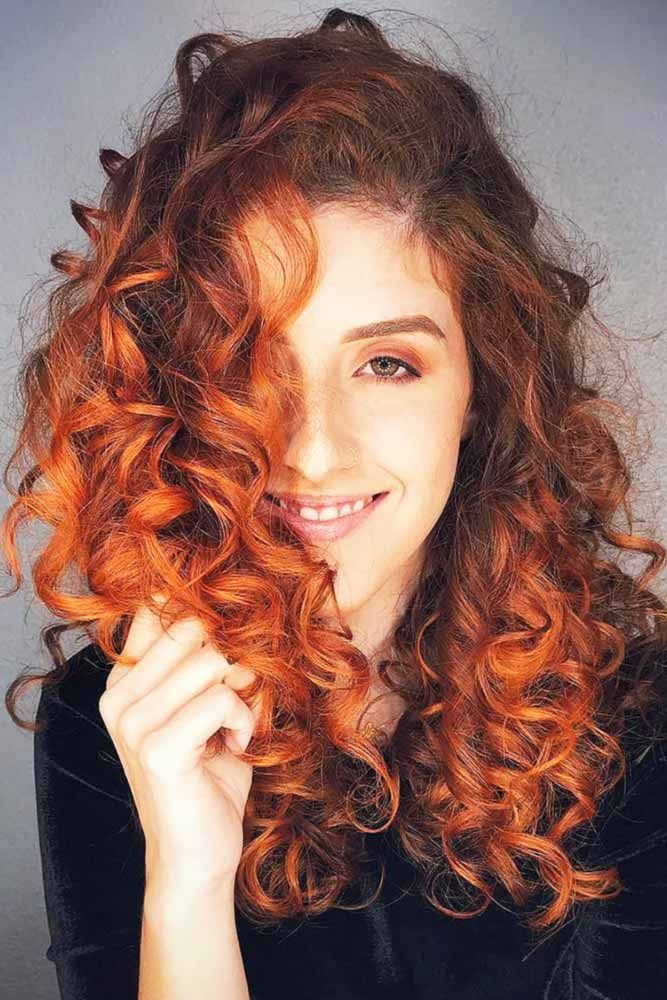 Hair Color 2017 2018 Bright Copper Ombre Redhair Curlyhair