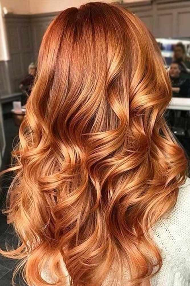 Golden Copper Hair Tones #redhair #wavyhair ❤️ A dark, light, ombre or balay...