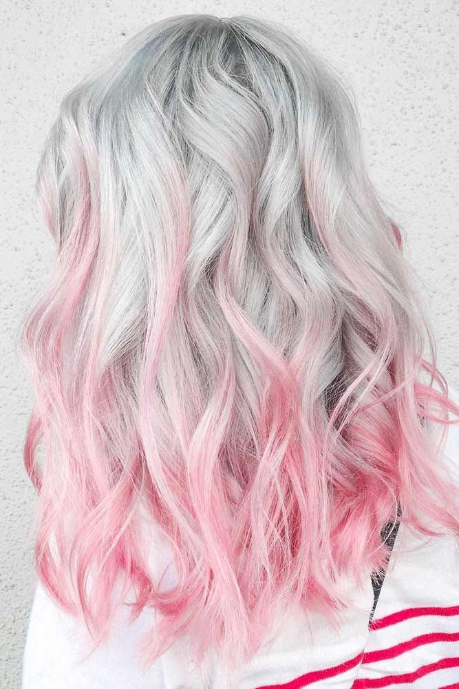 Grey Hair With Pink Ends #pinkhair #ombre ❤️ Want to get pastel pink hair? R...