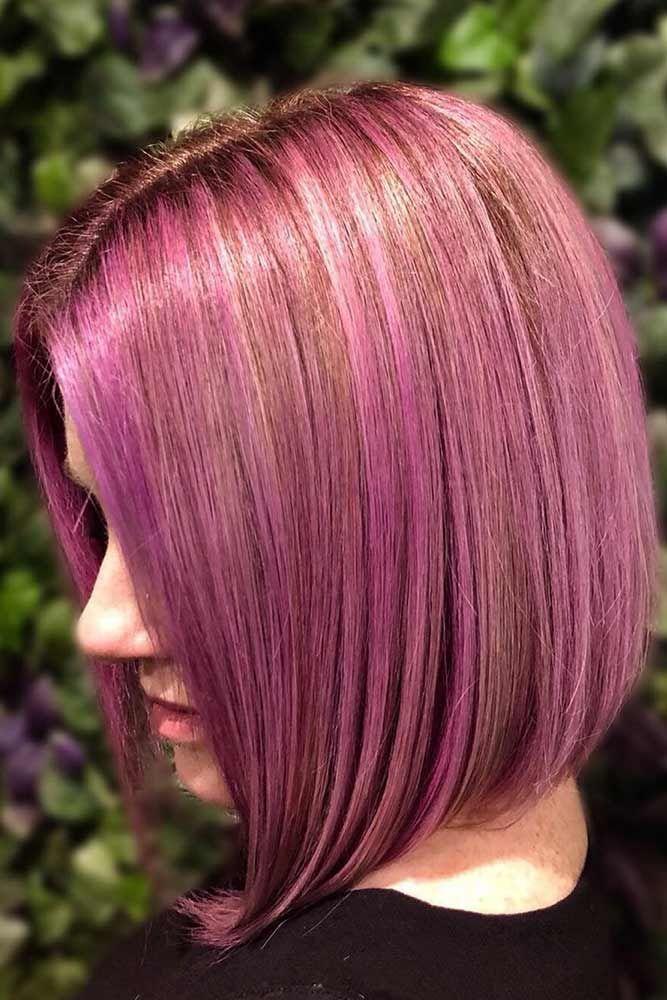 Milkshake Lilac And Eggplant Over Blonde Foils #temporaryhaircolor #pinkhair #hi...